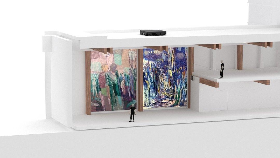Store malerier av Sverre Bjertnæs på utstilling