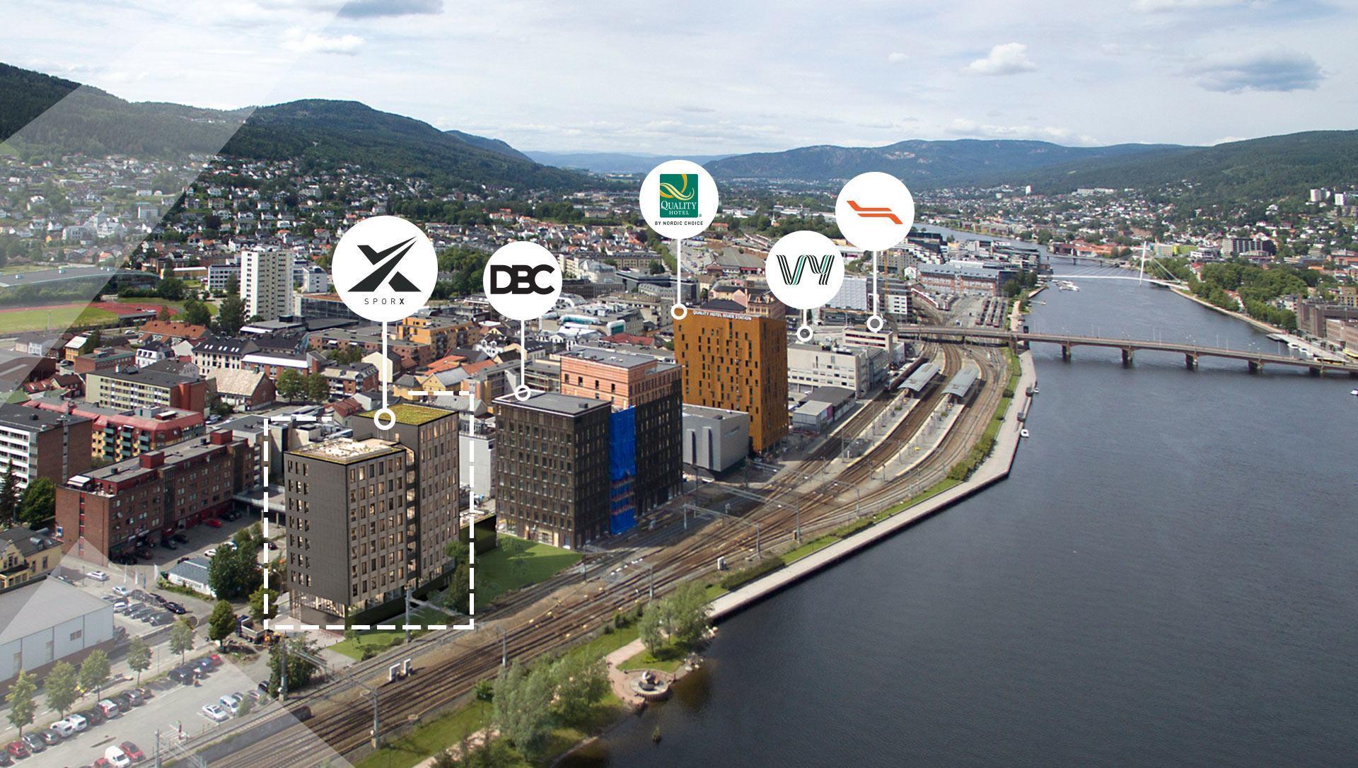Drammen oversiktsbilde. Dronefoto