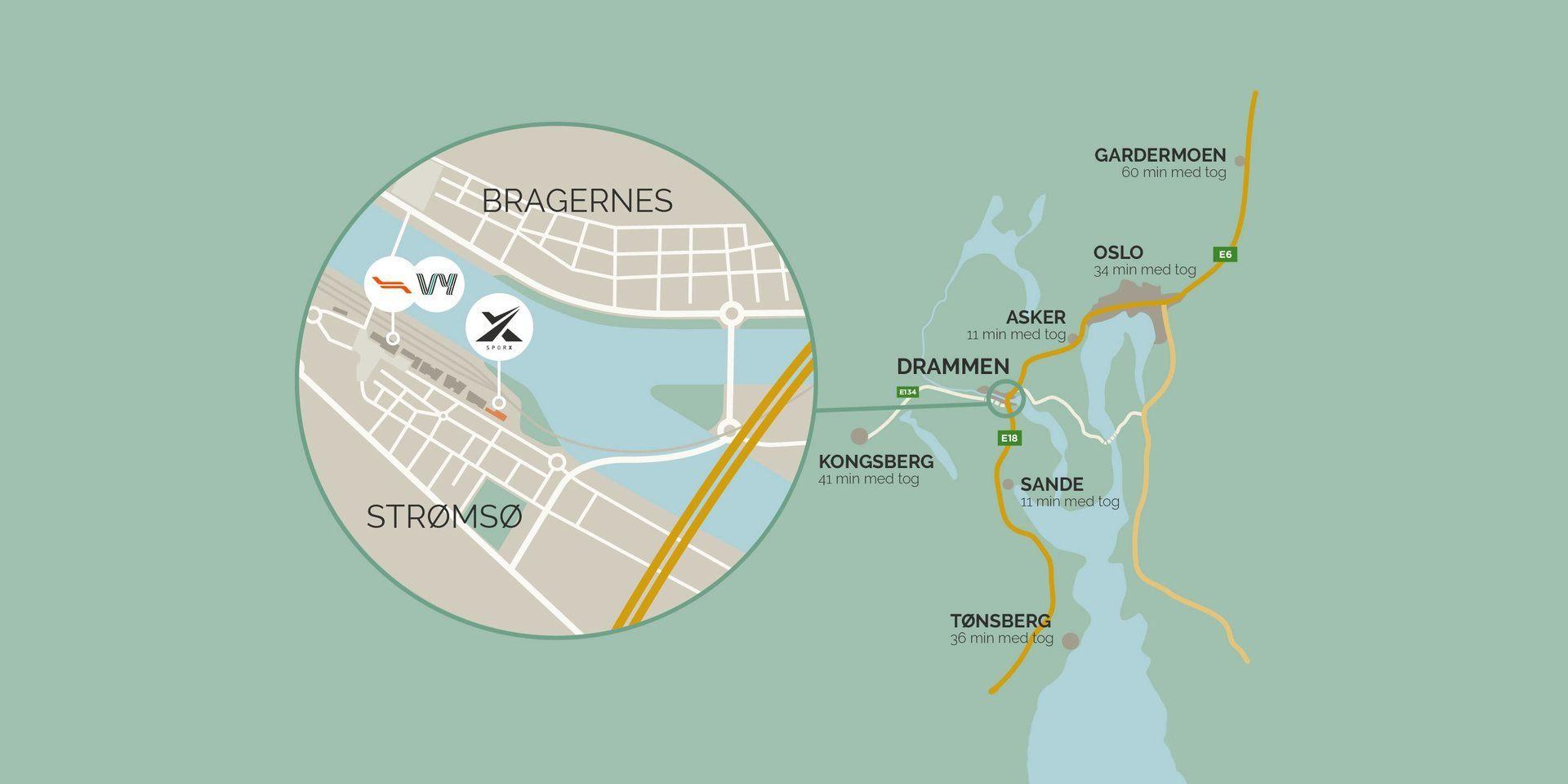 Oversiktskart på avstander fra nærmeste destinasjoner. Illustrasjon