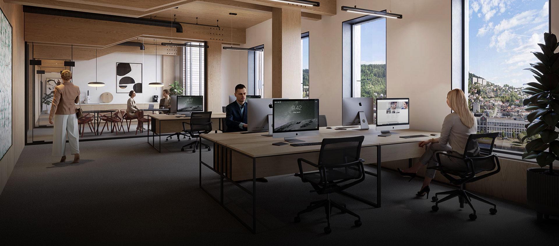 Illustrasjon av fremtidige arbeidslokaler i SporX