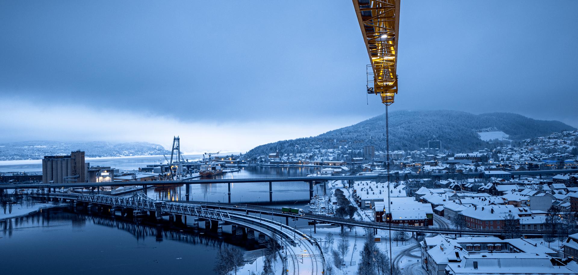 Utsiktsbilde vinter utover Drammensfjorden