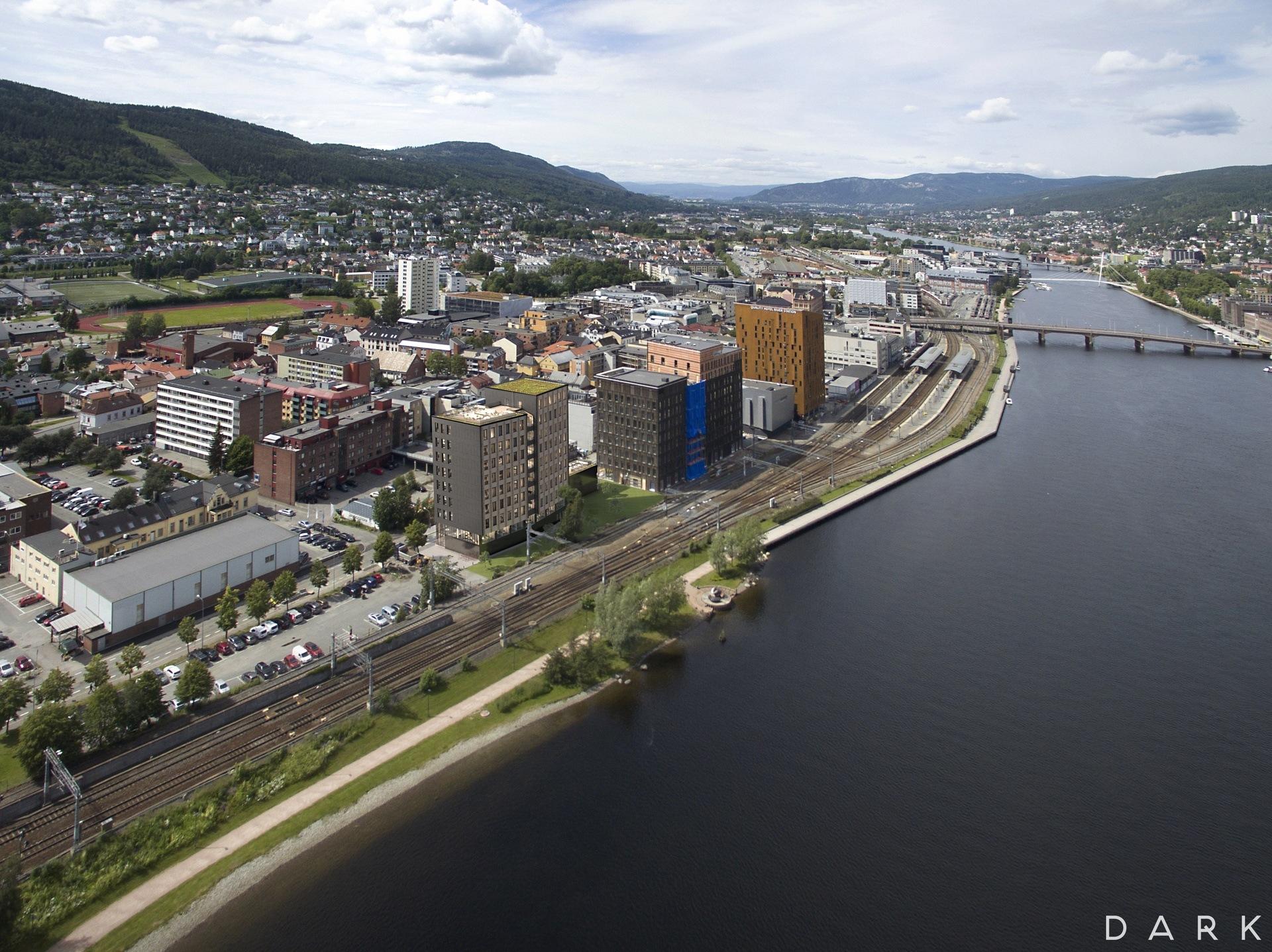 Utsiktsbilde over knutepunktet i Drammen og SporX.