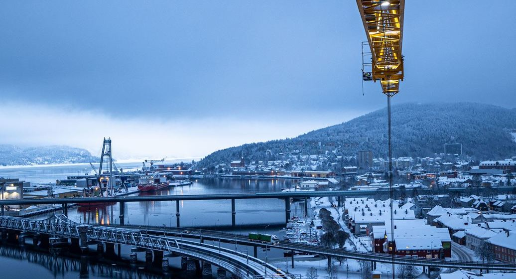 Utsikt over Drammen fra SporX